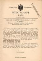 Original Patentschrift - Tabak -und Cigarettenfabrik SULIMA In Dresden ,1886 , Cigaretten - Mundstücke , Cigarette !!! - Zigarettenhalter U. -spitzen