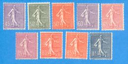 France 1924  : Type Semeuse Lignée N° 197 à 205 Neuf Sans Charnière (2 Scans) - France