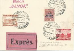 """30.V.1937. EXPRES CARD, 9th. NATIONAL  FREE BALLON RACE  """" BALON SANOK """" - Poste Aérienne"""
