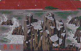 Télécarte Japon En LAQUE ROUGE & OR - Paysage Marin Rochers - RED LACK & GOLD Rare Japan Phonecard Telefonkarte - 96 - Landschappen