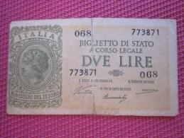1935 Italie Italia Biglieto Di Stato A. Corso Legale 2 BANK BILLET DE BANQUE BANCONOTE BANKNOTE BILLETES BANKNOTEN - [ 5] Tesoro