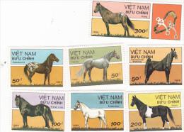 Vietnam 1989 Horses Imperforated Set And Mini Sheet MNH - Vietnam