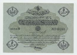 OTTOMAN TURKEY 5 PIASTRES 1332 XF P 96 - Turchia