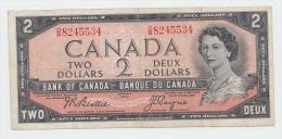 Canada 2 Dollars 1954 (1955-61) VF CRISP Banknote P 76a - Canada