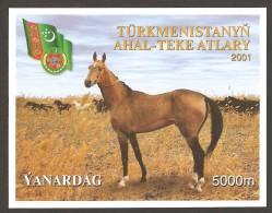 Turkmenistan (2001). Yv. Bf. 31  /   Horses - Cheval - Caballos - Pferde - Cavalli