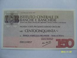 MINIASSEGNI  ISTITUTO CENTRALE DI BANCHE E BANCHIERI FDS  150 LIRE   BANCA AGR.MILANESE - [10] Scheck Und Mini-Scheck
