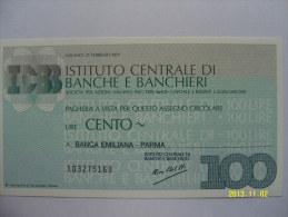 MINIASSEGNI  ISTITUTO CENTRALE DI BANCHE E BANCHIERI FDS  100 LIRE   BANCA EMILIANA PARMA - [10] Cheques Y Mini-cheques