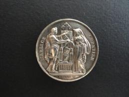 Médaille De Mariage En ARGENT - MARIAGE CHRETIEN - Signée PINGRET F. - 30 Mm De Diamètre - 19ème Siècle - Frankrijk