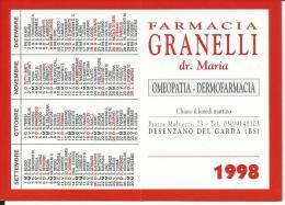 CAL489 - CALENDARIETTO 1998 - FARMACIA GRANELLI - DESENZANO - BRESCIA - Calendari