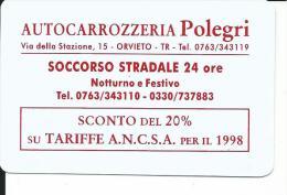 CAL501 - CALENDARIETTO 1998 - AUTOCARROZZERIA POLEGRI -  ORVIETO - Calendari
