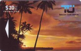 Cook Islands - COK-2, GPT, Sunset In Rarotonga, 20$, 10,400ex, 1992, Used - Islas Cook
