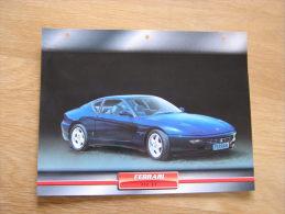 FERRARI 456 GT   Fiche Auto Voiture Automobile Cars Format A4 - Autos