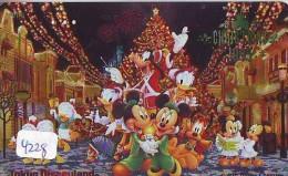 Télécarte Dorée Japon / 110-172116 * DISNEY Disneyland NOEL Accordeon (4228) Christmas * NAVIDAD Japan Gold Phonecard - Disney