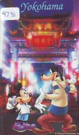 Télécarte Japon DISNEY * 110-177902 * Série Voyage N° 8 * Mickey Chien Goofy YOKOHAMA (4230 Japan Phonecard Telefonkarte - Disney