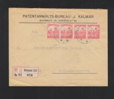 Hungary Registered Cover 1918 Stripe Of 4 - Ungarn