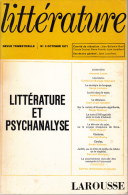 Litterature 3 Litterature Et Psychanalyse Larousse - Psychology/Philosophy