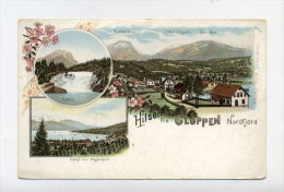 NORWAY - HILSEN FRA GLOPPEN NORDFJORD - 1900 LITHO POSTCARD - Norvège
