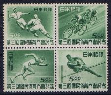 Japan: 1948 Mi  423 - 426  MNH/** 4-block
