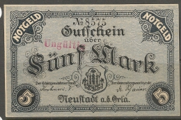 Stadt  Neustadt An Der Orla - VII - Germany -  1918 - NOTGELD Note - Lokale Ausgaben