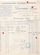 Xxx46-ZE-FACTURE -Chromolithographie-Typographie-Lithographie-Dervaux Frères-HALLUIN------commande étiquettes De Chicoré - France