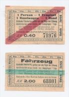 2 Fahrkarten Fähre Fähr-Schiff Bodensee KONSTANZ - MEERSBURG - 1 Fahrzeug + 1 Person   1930er Jahre - Zonder Classificatie