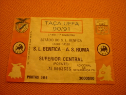 Benfica-AS Roma UEFA Cup Football Match Ticket Stub 3/10/1990 - Tickets D'entrée
