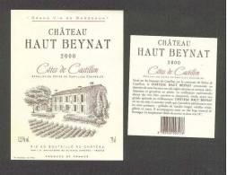 CHATEAU  HAUT BEYNAT  COTES DE CASTILLON  2000  ETIKET - Rouges