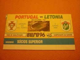 Portugal-Latvia Letonia Football Match Ticket Stub 03/06/1995 - Tickets D'entrée