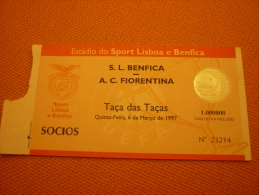 Benfica-AC Fiorentina Italy UEFA Cup Football Match Ticket Stub 06/03/1997 - Biglietti D'ingresso
