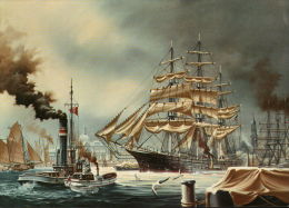 Fischereihafen Altona-St. Pauli Und Hamburger Hafen Um 1900 - Voiliers