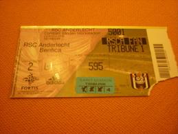 RSC Anderlecht-Benfica Football Match Ticket Stub 24/08/2004 - Tickets D'entrée