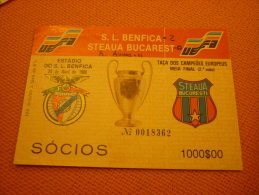 Benfica-Steaua Bucuresti UEFA Champions League Football Match Ticket 20/04/1988 - Biglietti D'ingresso