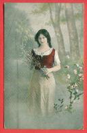 134669 / 1917 MILITARY CENSOR BULGARIA , LONG HAIR , PORTRAIT BEAUTIFUL CHARMING LOVELY  Woman Femme Frau - 1754/2 - Femmes