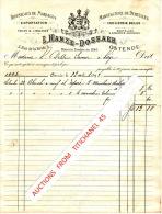 Factuur 1893 OOSTENDE - L. HANZE-DOSSAER - Fabrique De Dentelles & Broderie Anciennes - Toiles & Lingeries - Belgique