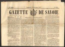 GAZETTE DE SAVOIE No. 2574 Du 16 Décembre 1860 Second Empire Chambéry - Documenti Storici