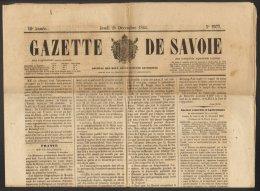 GAZETTE DE SAVOIE No. 2577 Du 20 Décembre 1860 Second Empire Chambéry - Documenti Storici