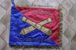 Fanion - 8eme Régiment D'artillerie - Brodé De Fils D'or - Format : 260mm Sur 200mm - Drapeau - Nancy ?? - Flags