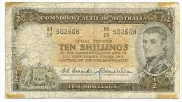 AUSTRALIA , 10 SHILLINGS 1961 -1965 , P- 33 - Pre-decimal Government Issues 1913-1965
