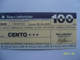 MINIASSEGNI  BANCO AMBROSIANO 100 LIRE 16/12/1976 - [10] Scheck Und Mini-Scheck