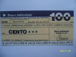 MINIASSEGNI  BANCO AMBROSIANO 100 LIRE 29/6/1976 - [10] Checks And Mini-checks