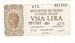 CARTAMONETA - 1 LIRA - ITALIA LAUREATA - DECR. 23 - 11 - 1944 - FDS - BS. 18 - [ 1] …-1946 : Koninkrijk
