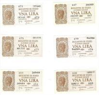 CARTAMONETA - 1 LIRA - ITALIA LAUREATA - DECR. 23 - 11 - 1944 - SPL/ STP/FDS - BS. 18 - LOTTO DI 6 PEZZI - [ 1] …-1946 : Koninkrijk