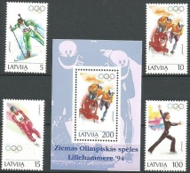 Olympic Games Latvia 1994 #364/7 + Bl 4 Lillehammer MNH ** - Winter 1994: Lillehammer