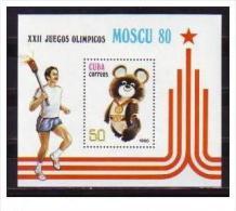 CUBA/KUBA 1980   XXII JUEGOS OLIMPICOS MOSCU SOUVENIR SHEET MNH - Cuba