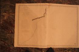 Carte Marine  1833 -  Cote Méridionale Du BRESIL -entre Ile Ste Catherine Et Rio Grande -  87cm X 59 Cm - Cartes Marines