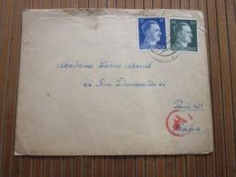 Cover + Mail Zensurbf  >Metzerl Cie Wailingen 1943 STO Pflichtpraktika Service  Deutschland>pour Fur  Paris - Allemagne