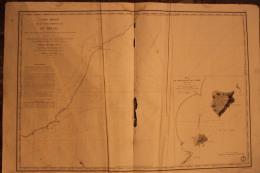 Carte Marine  1833 -  Cote  Du BRESIL - Entre Le Rio Grande De San Pedro Et Le Cap Sainte Marie Du Rio   -  89cm X 60 Cm - Nautical Charts