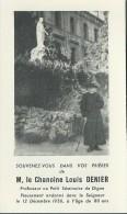 310F    Souvenir Du Chanoine Louis Denier Professeur Au Petit Seminaire De Digne (04) - Religion & Esotericism