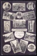 CPA ANCIENNE- ALGÉRIE- CONSTANTINE- CARTE SOUVENIR- VUES MULTIPLES AVEC BELLES ANIMATIONS SUR FOND NOIR - Constantine
