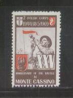 POLAND 1969 25TH ANNIV BATTLE OF MONTE CASSINO ITALY STAMP NHM ISSUED BY UK POLES POLONICA WW2 Bugle Trumpet Soldier F - WO2